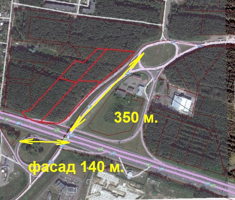 Большой участок на фасаде Бориспольской трассы