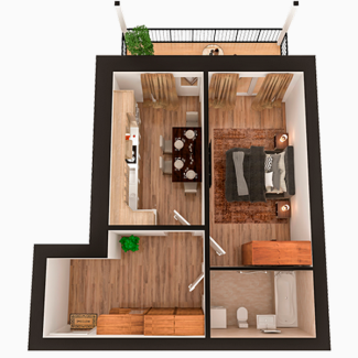 Квартира на 51 кв.м. от застройщика в ЖК Липинка