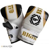 Снарядные перчатки BigFight белые, кожа
